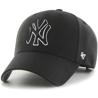 47 Brand Curved Brim Schwarzes Schwarz-Weiß Logo New York Yankees MLB MVP Snapback Cap schwarz