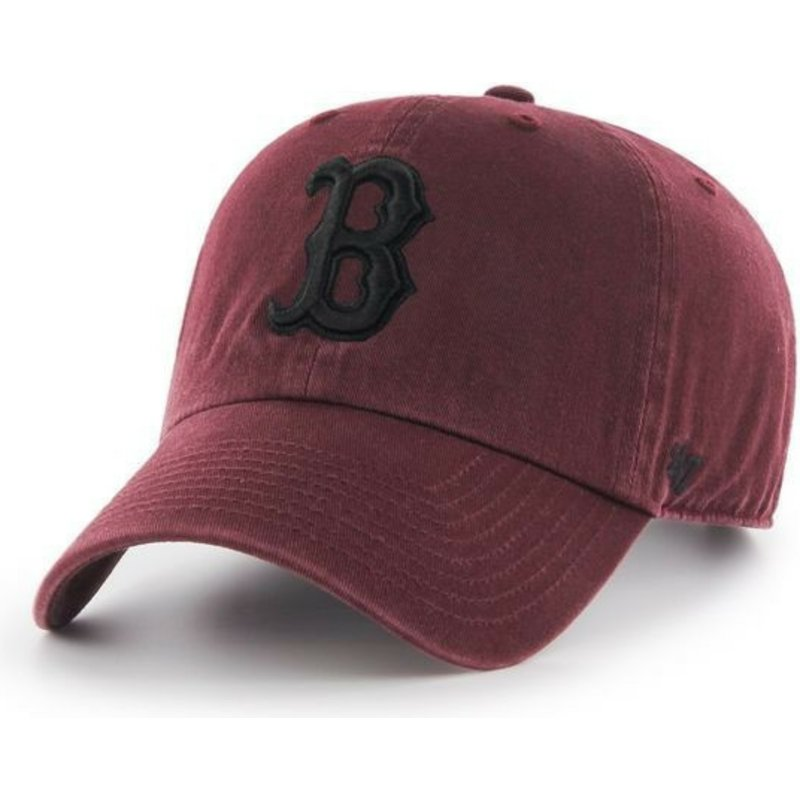 casquette-courbee-grenat-avec-logo-noire-boston-red-sox-mlb-clean-up-47-brand