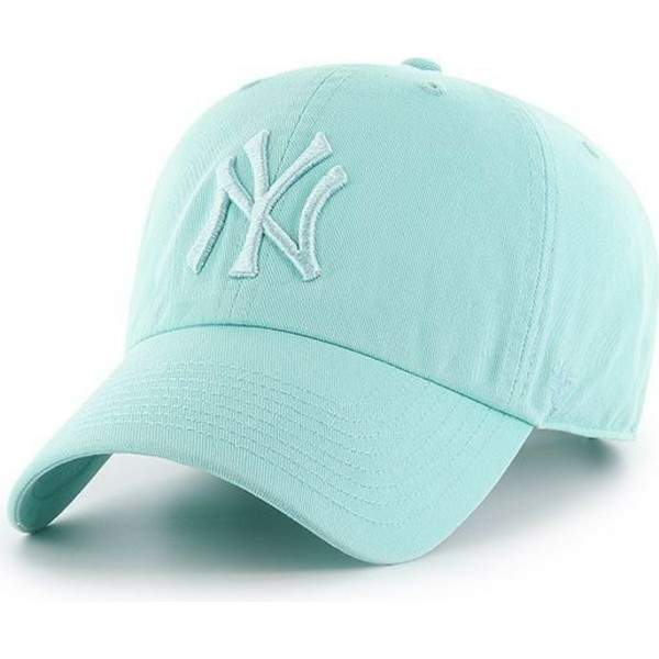 casquette-courbee-verte-claire-avec-logo-vert-clair-new-york-yankees-mlb-clean-up-47-brand