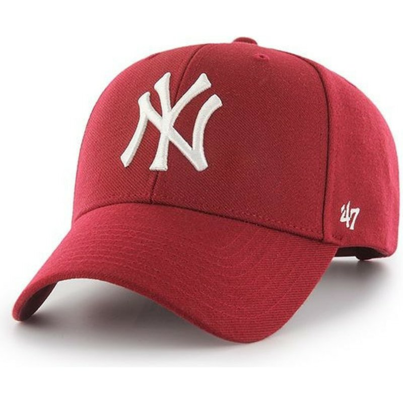casquette-courbee-rouge-fonce-snapback-new-york-yankees-mlb-mvp-47-brand