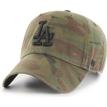 47 Brand Curved Brim Schwarzes Logo Los Angeles Dodgers MLB Regiment Clean Up Cap camo