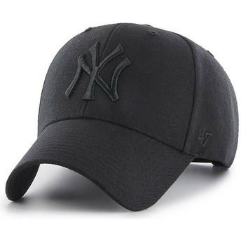 47 Brand Curved Brim Schwarzes Logo New York Yankees MLB MVP Snapback Cap schwarz