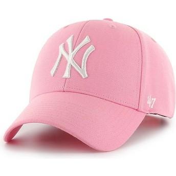 47 Brand Curved Brim New York Yankees MLB MVP Snapback Cap pink