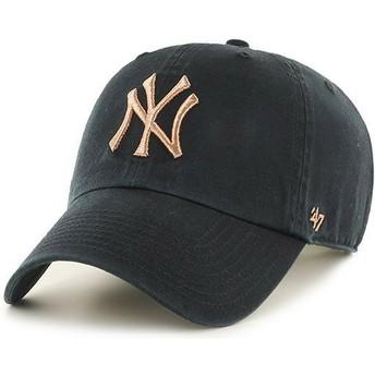 47 Brand Curved Brim Bronze Logo New York Yankees MLB Clean Up Metallic Cap schwarz