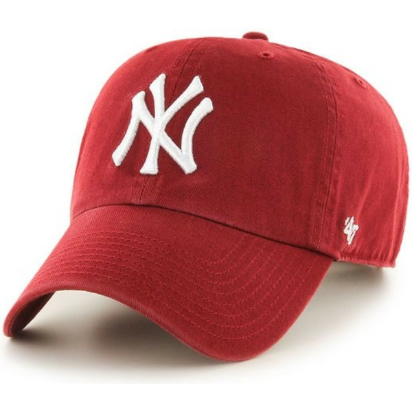 casquette-courbee-rouge-fonce-new-york-yankees-mlb-clean-up-47-brand