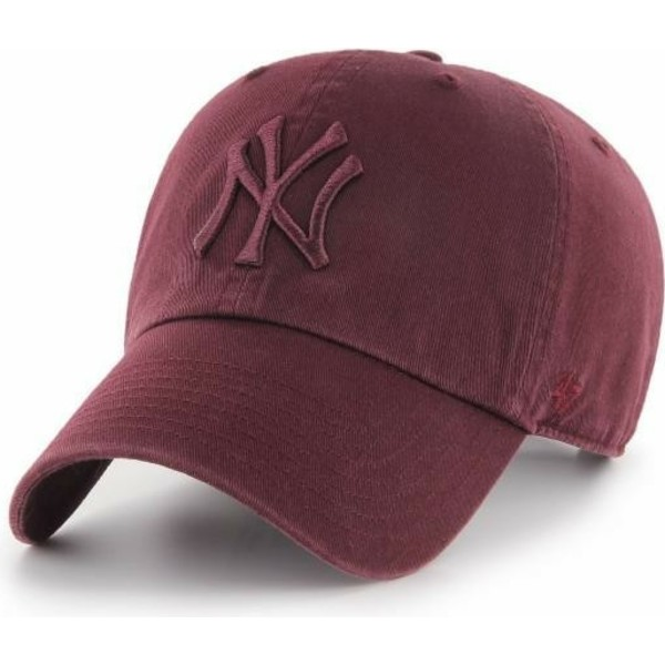 casquette-courbee-grenat-avec-logo-grenat-new-york-yankees-mlb-clean-up-47-brand