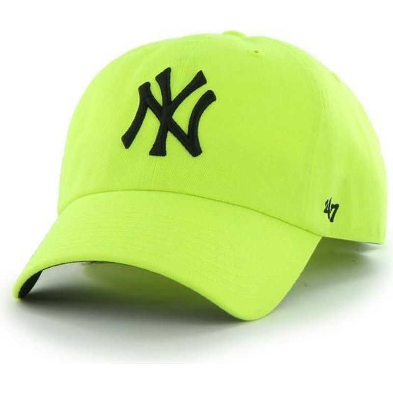 casquette-courbee-jaune-new-york-yankees-mlb-clean-up-neon-47-brand