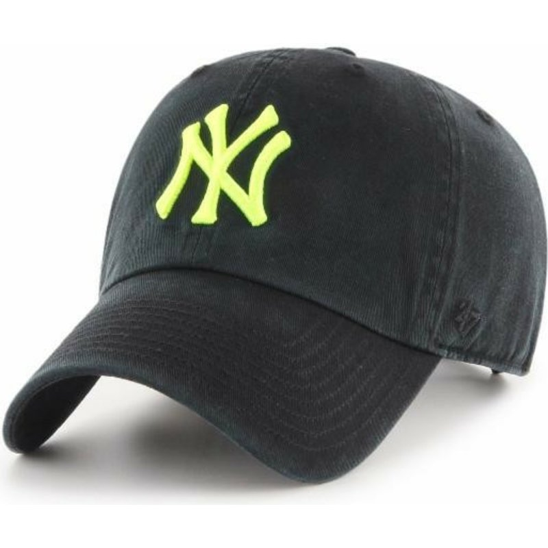 casquette-courbee-noire-avec-logo-jaune-new-york-yankees-mlb-clean-up-47-brand