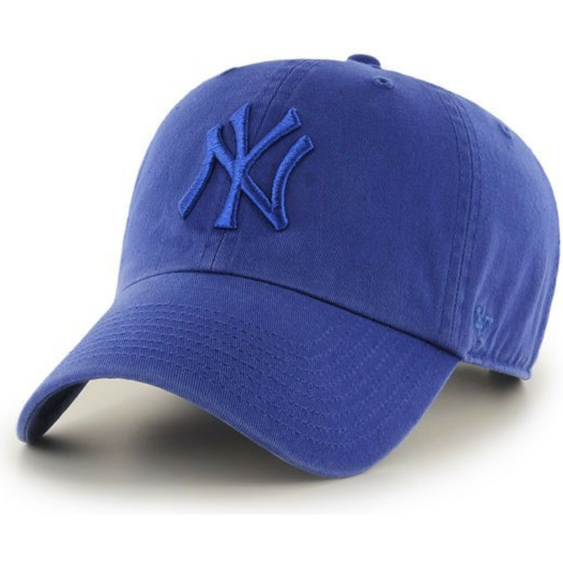 casquette-courbee-bleue-brillant-avec-logo-bleu-new-york-yankees-mlb-clean-up-47-brand