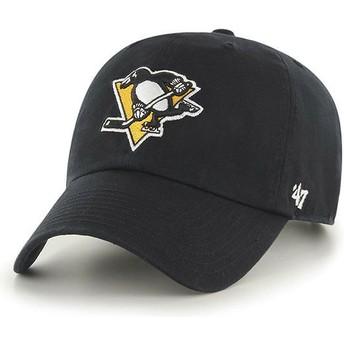 47 Brand Curved Brim Pittsburgh Penguins NHL Clean Up Cap schwarz