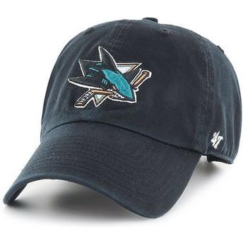 47 Brand Curved Brim San Jose Sharks NHL Clean Up Cap schwarz