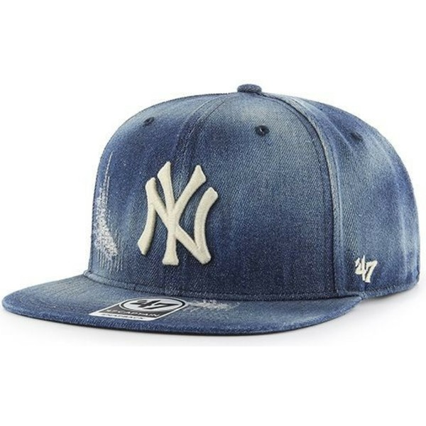 casquette-plate-bleue-marine-denim-snapback-new-york-yankees-mlb-captain-loughlin-47-brand