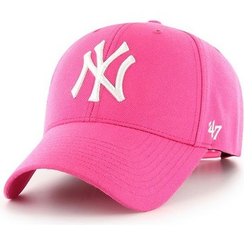 47 Brand Curved Brim New York Yankees MLB MVP Magenta Snapback Cap pink