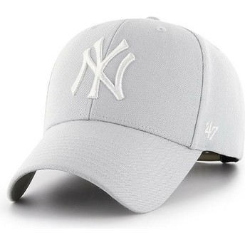 47 Brand Curved Brim New York Yankees MLB MVP Silver Snapback Cap grau