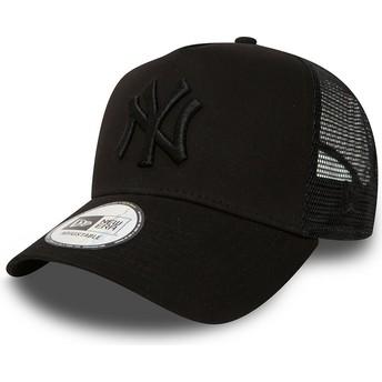 New Era Schwarzes Logo New York Yankees MLB Clean A Frame Trucker Cap schwarz