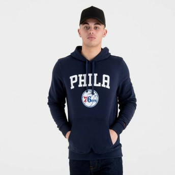 New Era Philadelphia 76ers NBA Pullover Hoodie Kapuzenpullover Sweatshirt marineblau