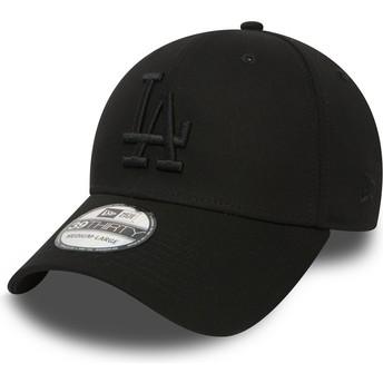 New Era Mit Schwarzem Logo Curved Brim 39THIRTY Essential Los Angeles Dodgers MLB Fitted Cap schwarz