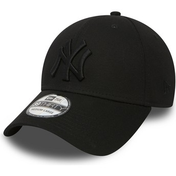 New Era Mit Schwarzem Logo Curved Brim 39THIRTY Classic New York Yankees MLB Fitted Cap schwarz