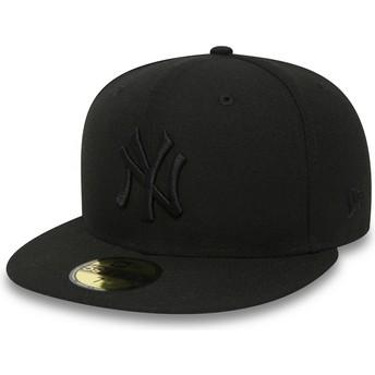 New Era Flat Brim 59FIFTY schwarz on schwarz New York Yankees MLB Fitted Cap schwarz