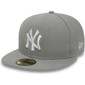 Casquette plate grise ajustée avec logo blanc 59FIFTY Essential New York Yankees MLB New Era
