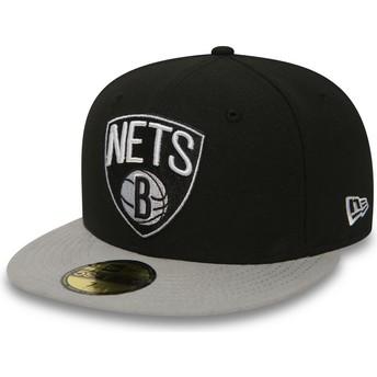 New Era Flat Brim 59FIFTY Essential Brooklyn Nets NBA Fitted Cap schwarz
