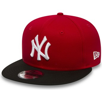 New Era Flat Brim 9FIFTY Cotton Block New York Yankees MLB Snapback Cap rot