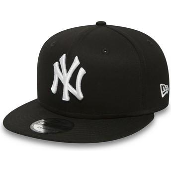 New Era Flat Brim 9FIFTY weiß on schwarz New York Yankees MLB Snapback Cap schwarz