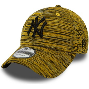 New Era Curved Brim Schwarzes Logo 9FORTY Engineerot Fit New York Yankees MLB Adjustable Cap gelb