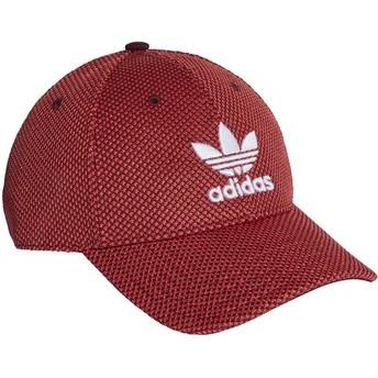 Casquette courbée rouge et noire avec logo blanc Trefoil Primeknit Adidas