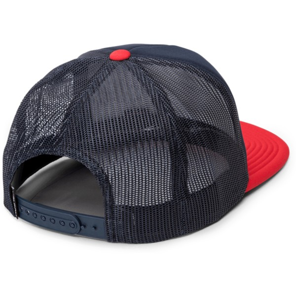 casquette-trucker-bleue-marine-avec-visiere-rouge-full-frontal-cheese-engine-red-volcom