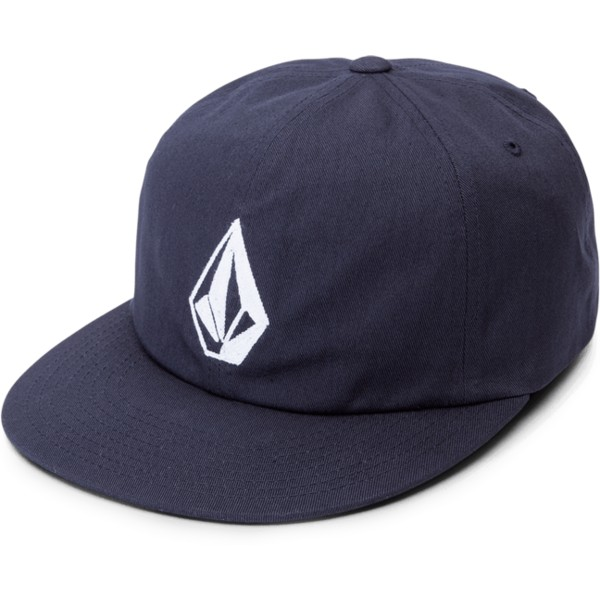 casquette-plate-bleue-marine-ajustable-stone-battery-navy-volcom