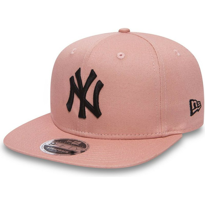 casquette-plate-rose-ajustable-avec-logo-noir-9fifty-true-originators-new-york-yankees-mlb-new-era