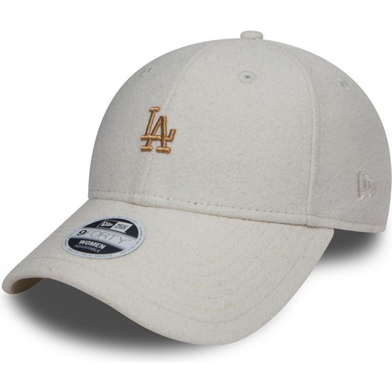 casquette-courbee-blanche-ajustable-avec-logo-bronze-9forty-melton-los-angeles-dodgers-mlb-new-era