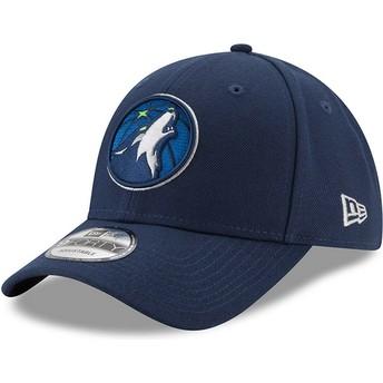 Casquette courbée bleue marine ajustable 9FORTY The League Minnesota Timberwolves NBA New Era