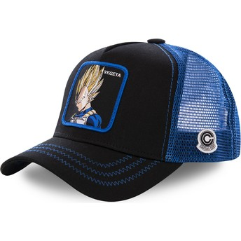 Casquette trucker noire et bleue Vegeta Super Saiyan VE3 Dragon Ball Capslab