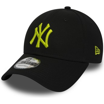 Casquette courbée noire ajustable avec logo vert 9FORTY Essential New York Yankees MLB New Era