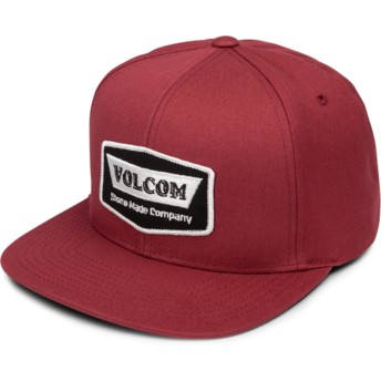 Volcom Flat Brim Burgundy Cresticle Snapback Cap rot