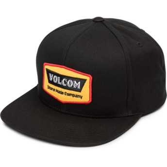 Casquette plate noire snapback Cresticle Yellow Volcom