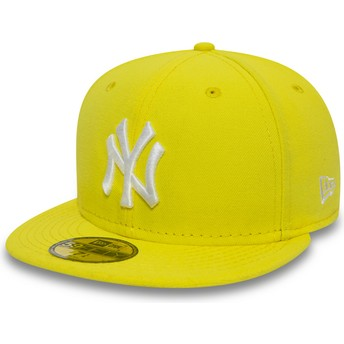 New Era Flat Brim 59FIFTY Essential New York Yankees MLB Fitted Cap gelb