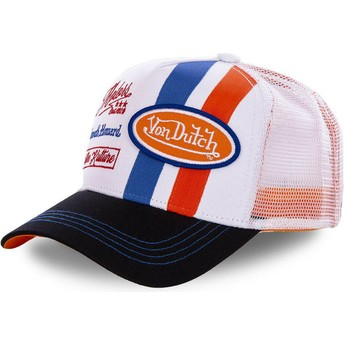 Casquette trucker blanche et orange MCQORA Von Dutch