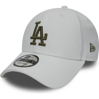 New Era Curved Brim Grünes Logo 9FORTY Diamond Era Los Angeles Dodgers MLB Adjustable Cap weiß