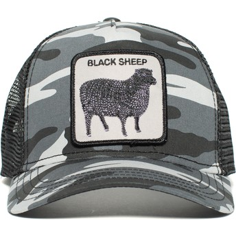 Casquette trucker camouflage noire mouton Naughty Lamb Goorin Bros.