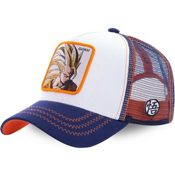 Casquette trucker blanche, bleue et orange Son Goku Super Saiyan 3 SAN2 Dragon Ball Capslab