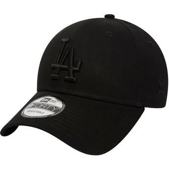 New Era Curved Brim Black Logo 9FORTY League Essential Los Angeles Dodgers MLB Black Adjustable Cap
