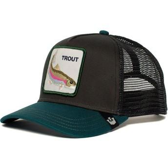 Casquette trucker noire et verte truite Rainbow Trout Goorin Bros.