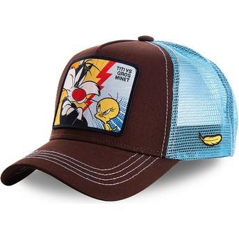 Casquette trucker marron et bleue Sylvestre Vs Titi TVG1 Looney Tunes Capslab