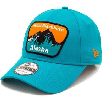 New Era Curved Brim 9FORTY USA Patch Alaska Mount Blackburn Blue Adjustable Cap