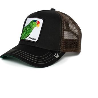 Casquette trucker noire et marron perroquet Perico Goorin Bros.