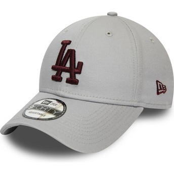 Casquette courbée grise ajustable avec logo grenat 9FORTY Essential Los Angeles Dodgers MLB New Era