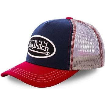 Casquette trucker bleue marine, blanche et rouge COL MAR Von Dutch